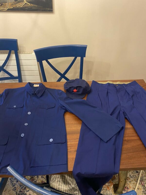 Authentic Communist Chinese BLUE Navy Workers HAT w/ Red Star, JACKET & Pants