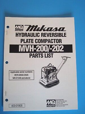 Mq Hydraulic Reversible Plate Compactor Mvh-200 202 Parts List Manual