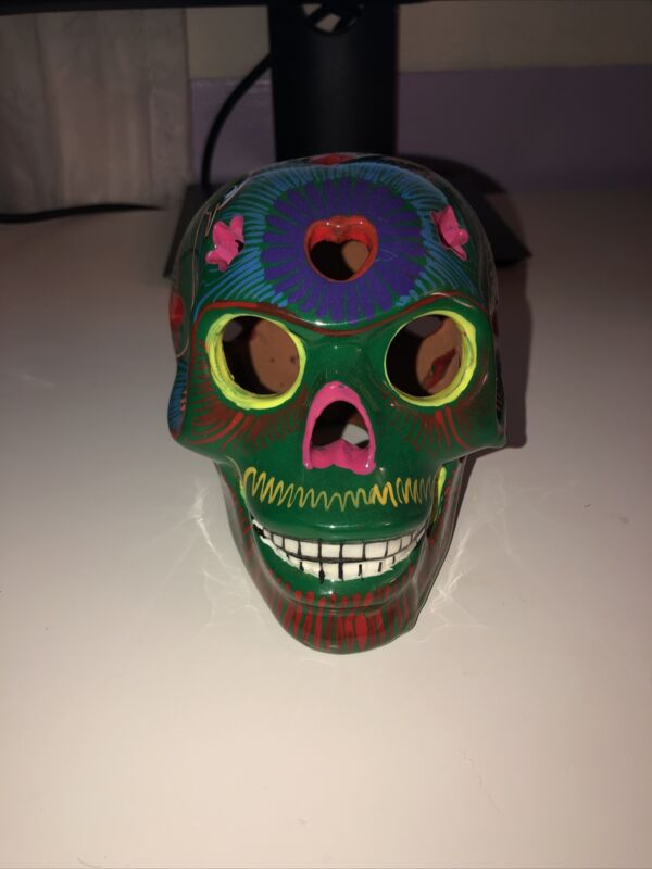 Calavera Sugar Skull - Terra Cotta Handmade - Halloween Day Of The Dead
