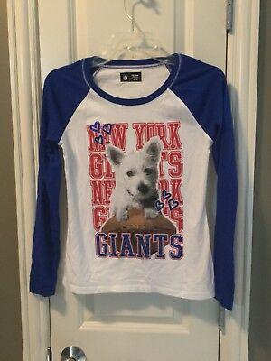 EUC Justice NY Giants NFL Apparel NY Football Shirt Size 12/14 Blue Glitter Dog