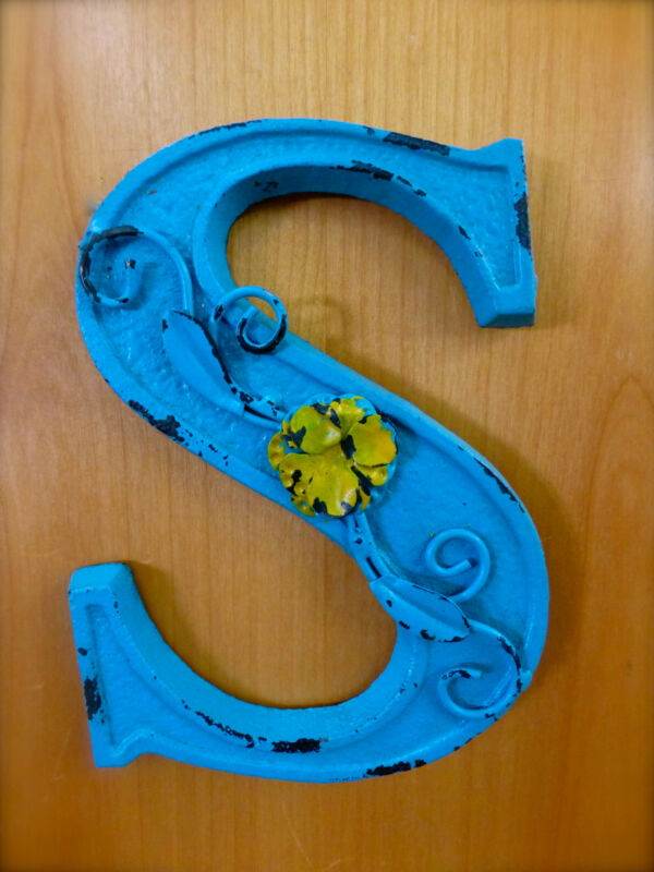 """BLUE CAST IRON WALL LETTER """"S"""" 6.5"""" TALL rustic vintage decor sign child nursery"""