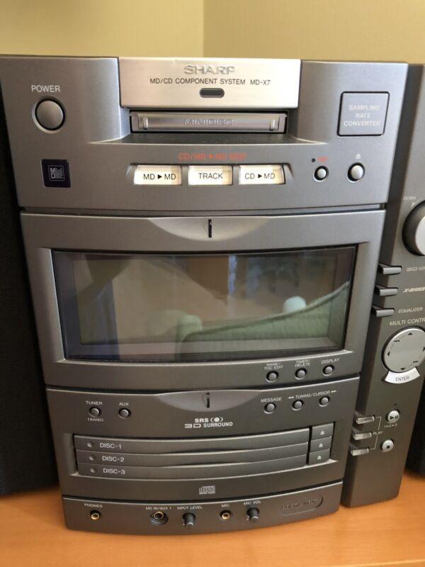 Sharp MD X7 CD MiniDisk Bookshelf System