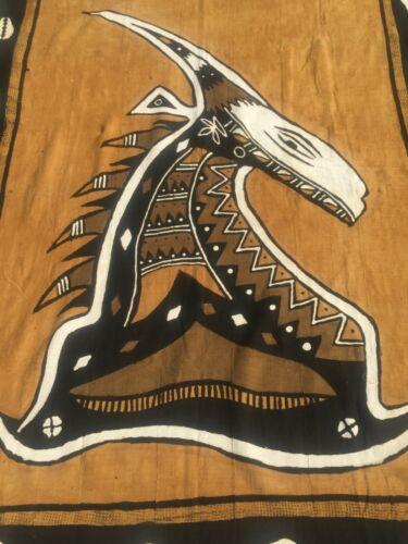VINTAGE African Textile Bogolan Bogolanfini Bambara MUD CLOTH Antelope? LARGE!