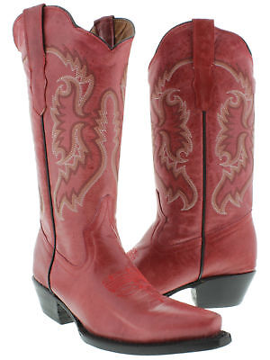 Womens Red Classic Western Style Cowboy Boots Casual Plain Leather Casual Western Cowboy Boots