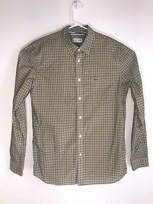 Lacoste Regular Fit Button Up Shirt Size M (40)  Pre-owned Long Sleeve Checkered