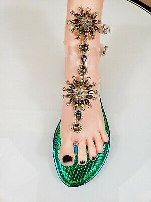 Bella Luna Flong 03 Rhinestone Jeweled Flat Summer Sandal Shoe Green Hologram 03 Jeweled Sandals