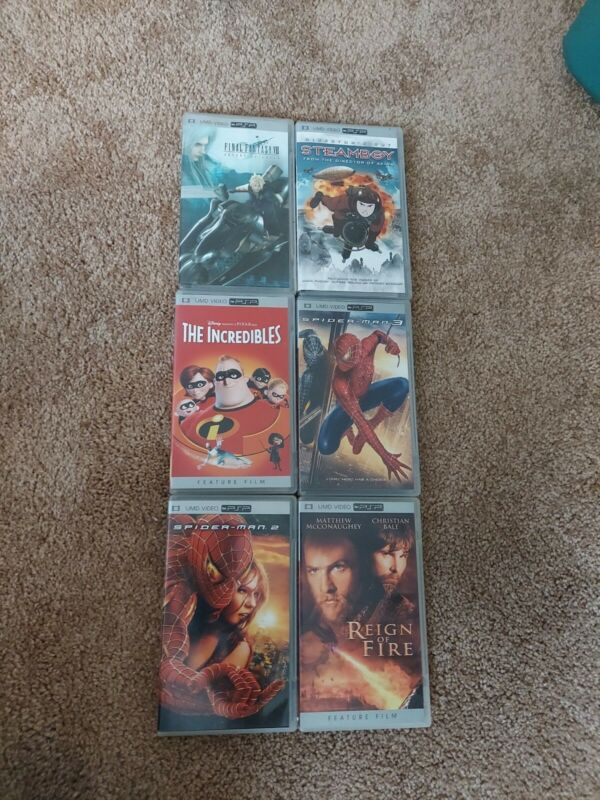 Lot of 6 Playstation Portable PSP UMD Movies with cases. Final fantasy, Steamboy
