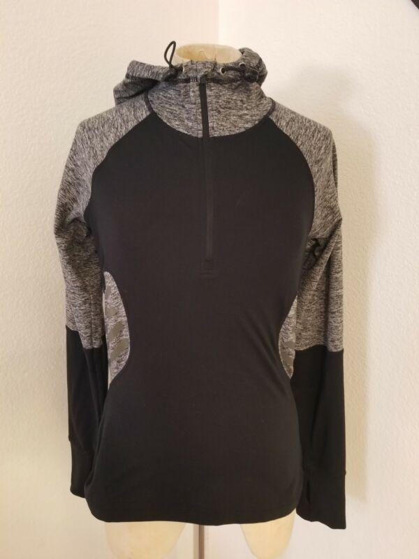 Sweaty Betty Hooded 1/2 Zip Pullover Jacket Sz S Black / Gray  Womens