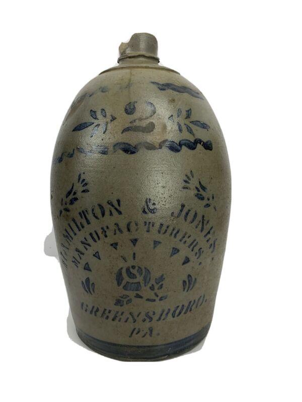 Hamilton And Jones 2 Gallon Greensboro PA Stoneware Jug