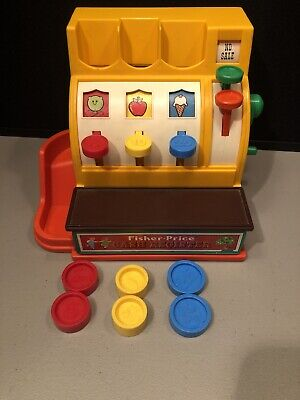 Vintage 1974 Fisher Price Toy Cash Register With 6 Coins