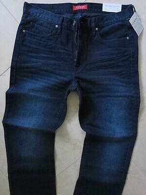 Dark Straight Leg Jeans - Guess Men's Regular Straight Leg Jeans Guess Classic Distressed Dark Blue Jeans