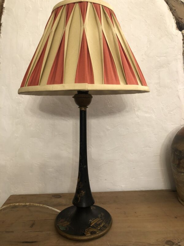 ANTIQUE LACQUERED CHINOSERIE LAMP BLACK JAPANNED DESK LIGHT 1920s