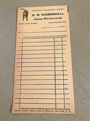 VINTAGE 1930'S H.M. NIEBERGALL INDIAN MOTOCYCLES RECEIPT