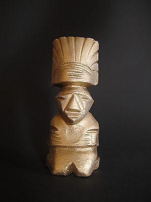 Ahnenfigur Mexiko Azteken Inka Maya aus Alabaster goldfarben bemalt