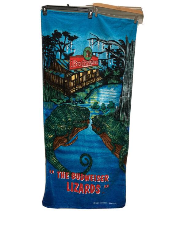Vintage 1998 Budweiser Beer Lizards Beach Towel Rare 100% Cotton Vibrant Colors
