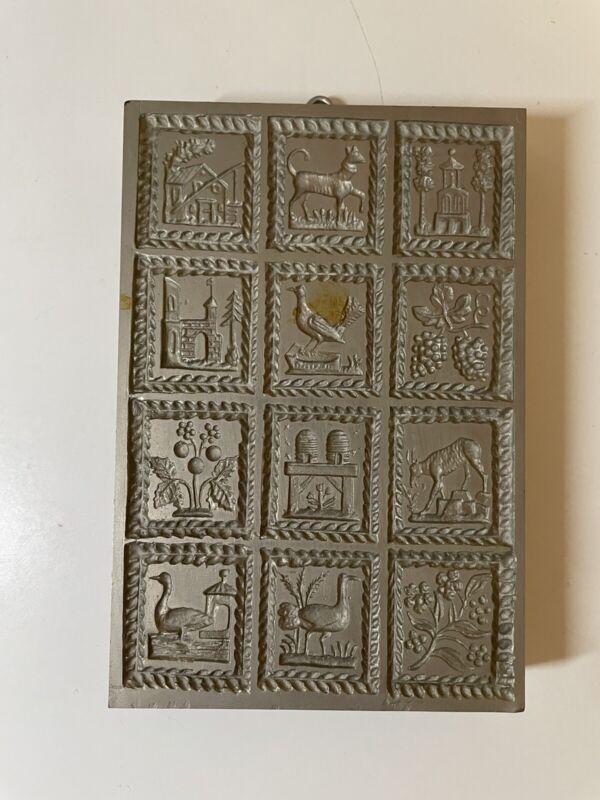 Antique Metal Wood 12 Mold Springerle Cookie Mold Press Stamp