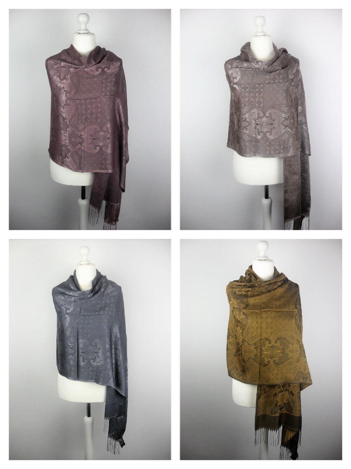 Pashmina Schal Tuch Stola Hijab 55% Viskose & 45%Polyacryl Altrosa Grau 183x70cm