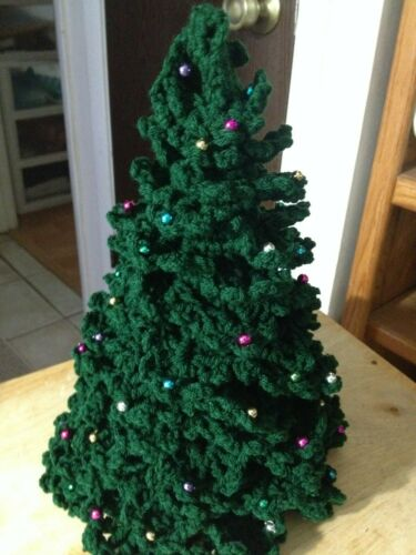 Green Crochet Christmas Tree, with Colorful Decorations