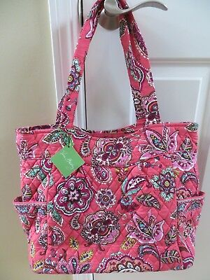 Vera Bradley Pleated Tote Bag Purse Boysenberry Call Me Coral Pink Purple-NEW! ()