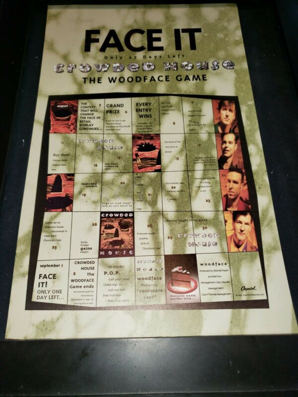Crowded House Woodface Rare Original Radio Promo Poster Ad Framed! #2