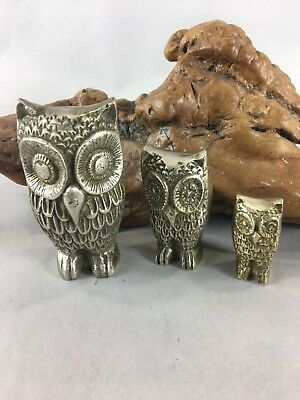 Vintage Set of 3 Solid Brass Owls Decorative/ Paperweight Figures​