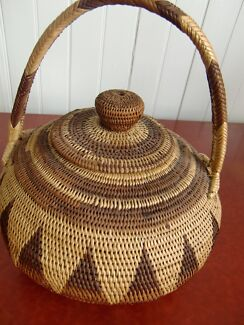 Tribal Basketry Vintage Buka PNG Basket with lid Highgate Hill Brisbane South West Preview