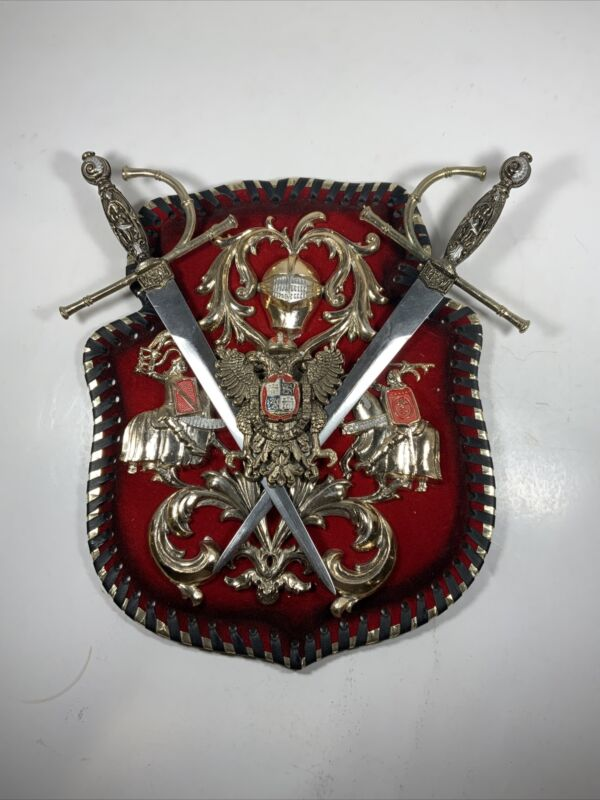 Vintage MCM coat of arms wall hanging two swords spain