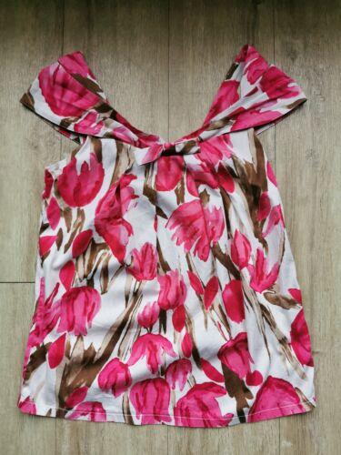Oberteil Bluse Top Shirt von Nara Camicie Gr. I 36 Blumen weiß rot armlos