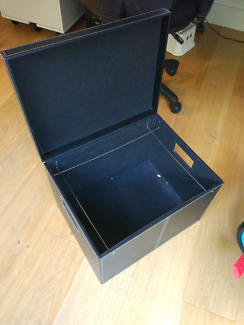 Leather look document filing box
