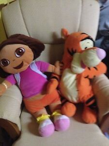 Dora and tigger large stuffies