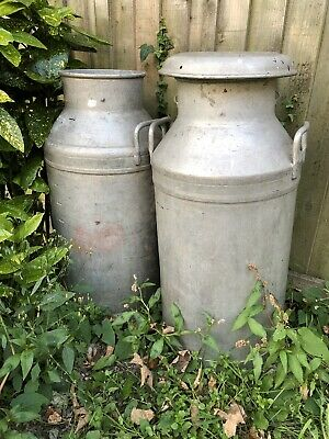 2 X LARGE VINTAGE BRITISH MADE 10 GALLON MILK CHURN (ONE LID ONLY)