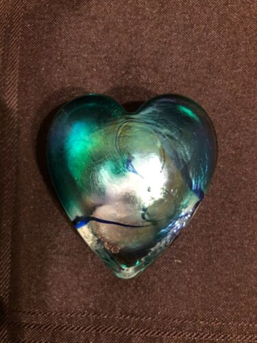 RHAG Robert Held Art Glass Green Heart Iridescent Swirl