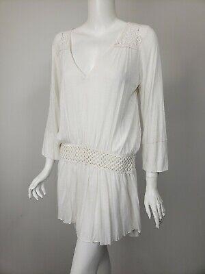 FREE PEOPLE Ivory Knit Jersey Lace Crochet Trim Oversized Tunic Top sz XS