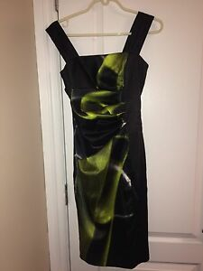 GREEN AND BLACK EVENING DRESS
