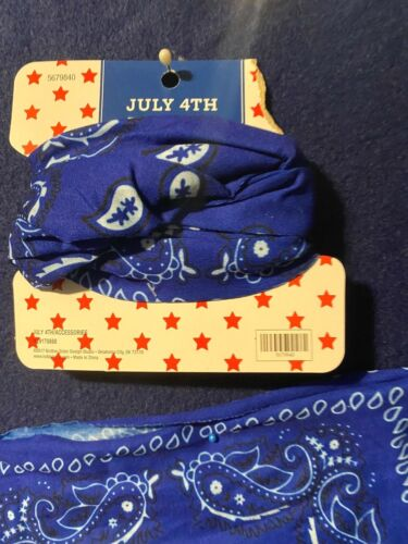 Scarf Gaiter mask Infinity Bandana western blue/white 4th accessory country NEW