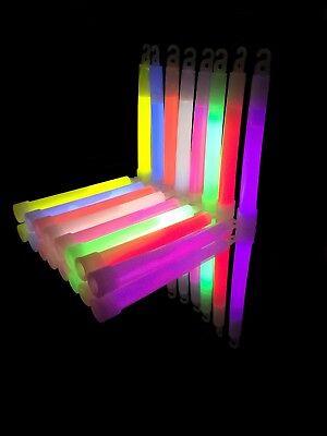 50x 6 inch 1.5cm Thick Glow Sticks - Mixed 6