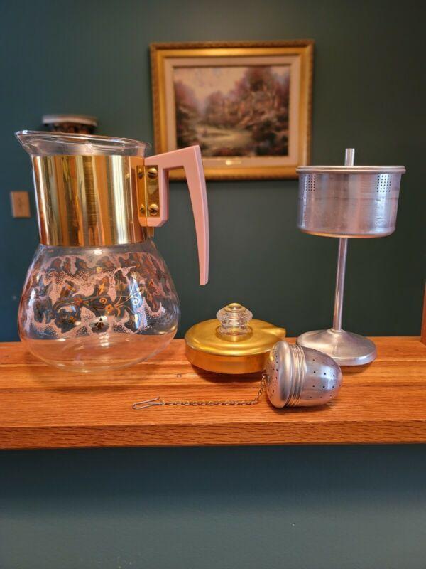 Vintage Perc-King by Handcraft Pink & Gold Coffee Percolator Pot ~ EUC ~ USA