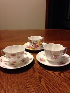 3 beautiful Shelley Tea Cups and Saucers