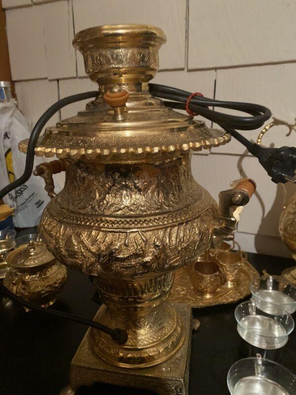 Vintage Electric Antique Persian Gold Plated Samovar Tea Set serving size 8