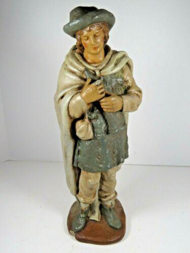 "VTG Nativity Boy W/ Flute Figure Plaster / Chalk 9"" Replacement Hand Paint A7946"