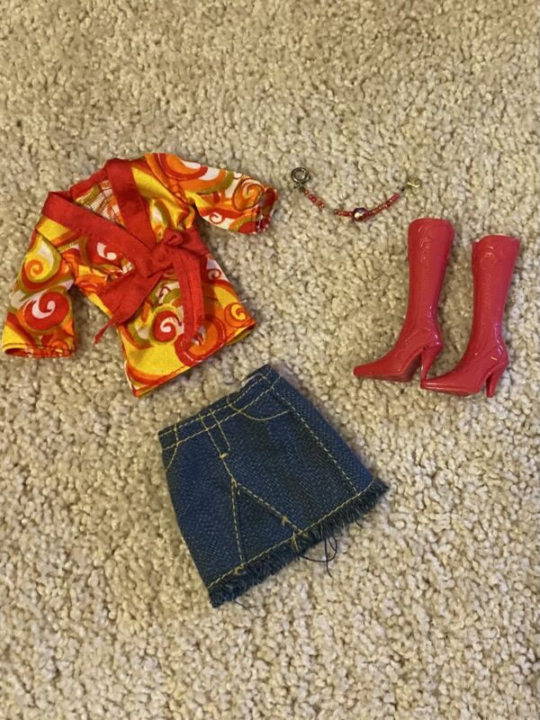 BARBIE & FRIENDS~CLOTHES LOT~JEAN SKIRT~TOP~RED BOOTS~