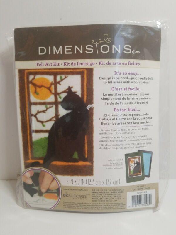 "NEW Dimensions Felt Art Kit Wool Needle Felting Black Cat Silhouette 5"" x 7"""