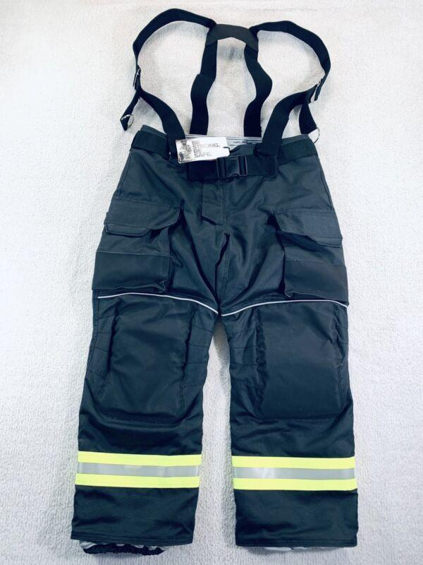INNOTEX Energy Gray Turnout Gear Fire Fighting Pants Bibs Black Mens Size 42-P2