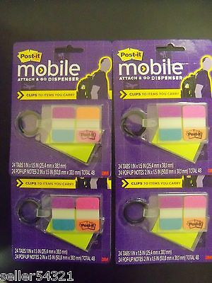 Post-it Mobile Attach Go - 96 Tabs 1x1.5 In 96 Notes 2x1.5 In 4pk New