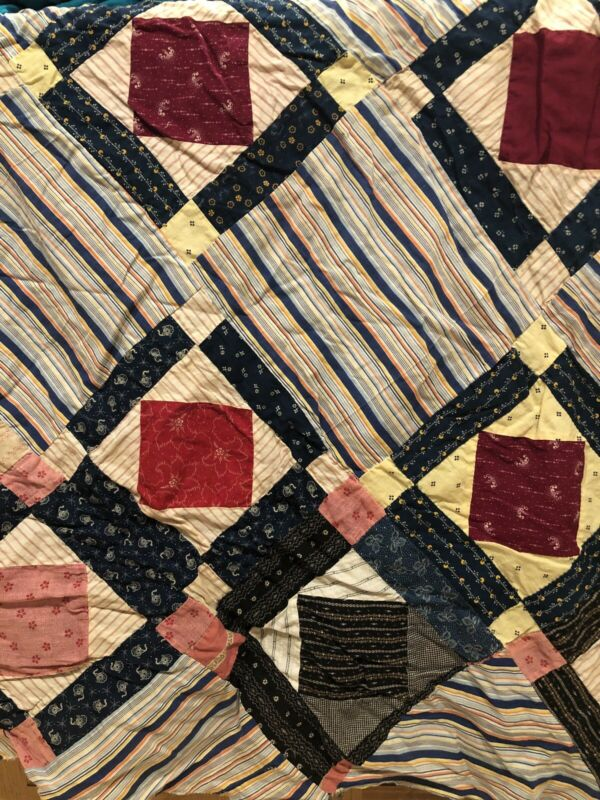 Lovely Vintage 30s 40s Fabric Patchwork Quilt Top