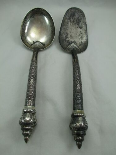 Antique Cambodian 900 Silver Rice Serving Spoon SET 239 grams Ornate Floral 317E