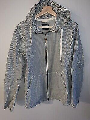 Abercrombie Mens Seersucker Full-Zip Jacket Grey Size M