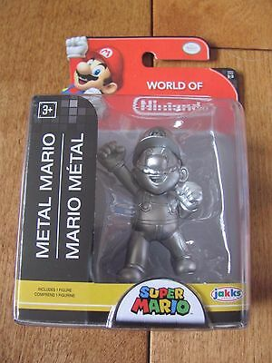 World Of Nintendo Super Mario 1 3 Metal Mario Figure 2 5 Inch Jakks Pacific New