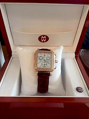 Diamonds Rose Alligator Watch - Michele Rose Gold Deco Diamond .60ct Alligator Leather Watch w/Mother Pearl Face
