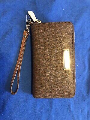 Michael Kors Jet Set Travel Large Flat Multifunction Phone Case Wallet Brown